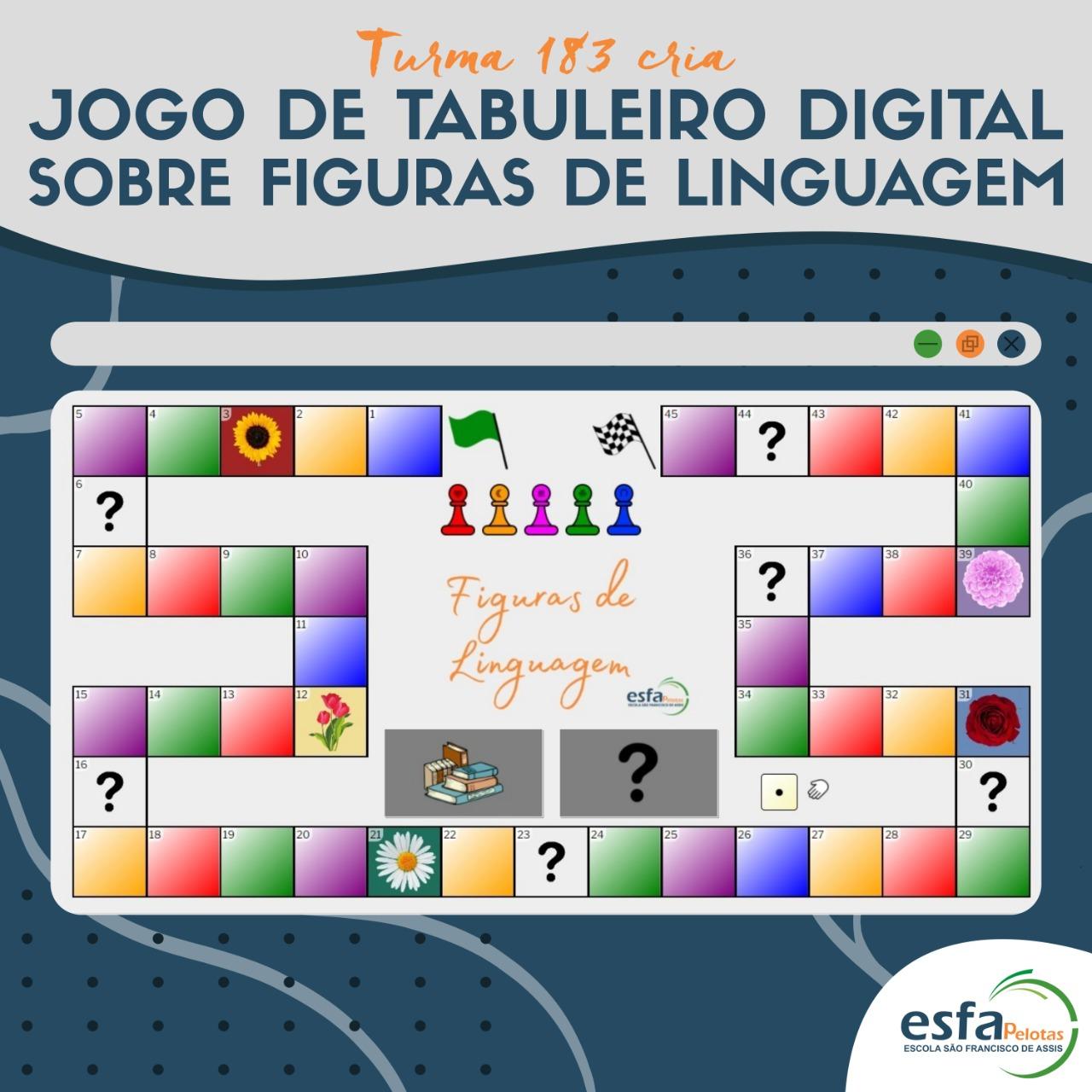 Turma 183 desenvolve jogo de tabuleiro digital para estudar figuras de linguagem